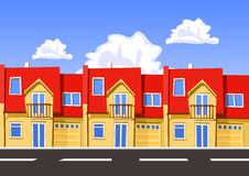 Colorful vector city, row building. Stock Photos