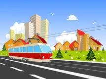 Colorful vector city with Streetcar Stock Photos