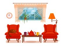 Colorful vector cozy interior warm bright winter illustratio. Colorful vector cozy interior illustration in cartoon flat style. Window with curtains, armchair stock illustration
