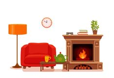 Colorful vector cozy interior warm bright winter illustratio. N in cartoon flat style. Fireplace, armchair, floor lamp, cat, cup,  teapot, table, potted plant Royalty Free Stock Photos