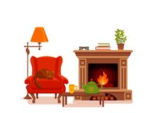 Colorful vector cozy interior warm bright winter illustratio. N in cartoon flat style. Fireplace, armchair, floor lamp, cat, cup,  teapot, table, potted plant Stock Image