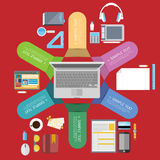 Colorful vector design for workflow, web design, infographics Stock Images