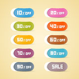 Colorful Vector Discount Stickers, Labels Stock Photo