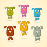 Colorful Vector Dogs Set. On Old Paper Background Royalty Free Stock Photography