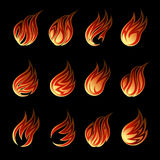 Colorful Vector Fire Icon Set. Isolated on Black Background. Used for Cartoonized Graphic Designs Stock Images