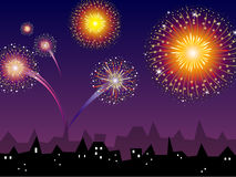 Colorful Vector Fireworks. Illustration of a colorful fireworks over a city skyline Royalty Free Stock Images