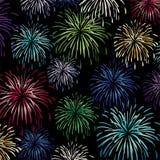 Colorful fireworks background pattern on black vector illustration