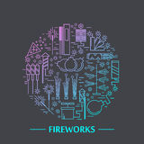 Colorful vector fireworks icons concept. Festival or party elements. Line carnival illustration. Firecracker set. Entertainment decorating. Cartoon surprise Stock Photo