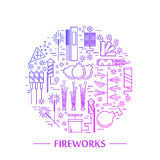 Colorful vector fireworks icons concept. Festival or party elements. Line carnival illustration. Firecracker set. Entertainment decorating. Cartoon surprise Royalty Free Stock Images