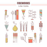 Colorful vector fireworks icons. Festival or party elements. Line carnival illustration. Firecracker set. Entertainment. Decorating. Cartoon surprise flat Royalty Free Stock Image