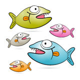 Colorful Vector Fish With Teeth Set Royalty Free Stock Photo