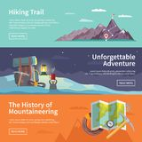 Colorful vector flat banner set. Quality design. Colorful vector flat banner set. The history of mountaineering. Unforgettable adventure. Hiking trail Stock Photo