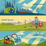 Colorful Vector Flat Banner. Set. Quality design illustrations, elements and concept. The history of mountaineering. Unforgettable adventure. Hiking trail Royalty Free Stock Photo
