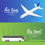 Colorful vector flat banners set. Quality design illustrations, elements and concept. Flying airplane. Bus Stock Photography