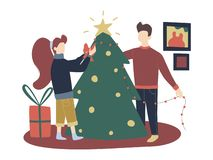 Colorful vector flat cartoon christmas illustration with festive christmas decorations, family gathering - mom, dad. vector illustration