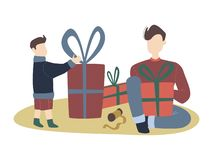 Colorful vector flat cartoon christmas illustration with festive christmas decorations, family gathering - father and son, gifts. royalty free illustration