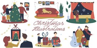 Colorful vector flat cartoon christmas illustrations with festive christmas decorations, family gathering, cozy indoor and outdoor vector illustration