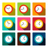 Colorful Vector Flat Clock Icons. Set royalty free illustration