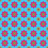 Colorful Vector Floral Pattern. Seamless pink and yellow flowers on blue background Stock Images