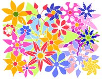 Colorful Vector Flowers Group Royalty Free Stock Images