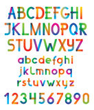 Colorful vector font and numbers. Stock Images