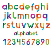 Colorful vector font and numbers. Royalty Free Stock Image