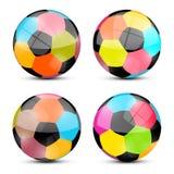 Colorful Vector Football Balls Royalty Free Stock Photo