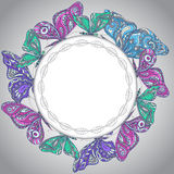 Colorful vector frame with butterflies. Royalty Free Stock Image