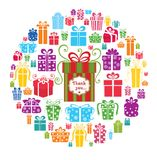 Colorful vector gift boxes in the circle. Royalty Free Stock Image