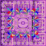 Colorful vector greek panel pattern. Geometric abstract backgrou. Nd. Floral mandala. Greek key meander maze frame, circles, shapes, waves. Vintage flowers royalty free illustration