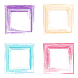 Colorful vector grunge square frames Stock Photography