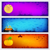 Colorful vector Halloween banners backgrounds set Royalty Free Stock Photos