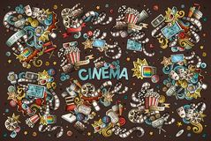 Colorful vector hand drawn Cinema Doodle cartoon set of objects. And symbols. All objects separate Royalty Free Stock Photography