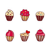 Colorful vector hand drawn doodle cartoon set of cupcakes Royalty Free Stock Photos