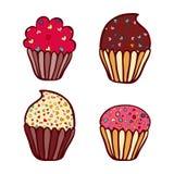 Colorful vector hand drawn doodle cartoon set of cupcakes Stock Photos