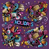 Colorful set of holidays object Stock Images