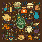 Colorful vector hand drawn Doodle cartoon set on the kitchen theme Royalty Free Stock Images