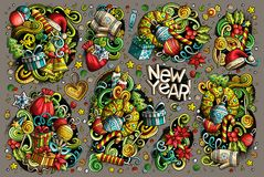 Doodle cartoon set of New Year and Christmas objects Royalty Free Stock Photography