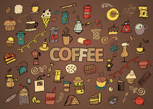 Colorful vector hand drawn Doodle cartoon set of objects and symbols on the coffee time theme Stock Photo