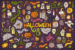 Colorful vector hand drawn Doodle cartoon set of. Objects and symbols on the Halloween theme Stock Photography