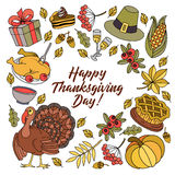 Colorful vector hand drawn Doodle cartoon set of objects and symbols on the Thanksgiving stock illustration