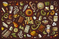 Vector doodle cartoon set of tea and coffee objects Stock Photography