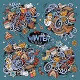 Cartoon set of Winter season doodles designs Stock Photos
