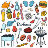 Colorful vector hand drawn Doodle of Grill and BBQ. Vector illustration of grill and BBQ stuff. Icons for web, mobile and print. Barbecue logos and icons Royalty Free Stock Photo