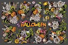 Colorful vector hand drawn Doodle Halloween cartoon set of objects Stock Photos