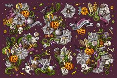 Colorful vector hand drawn Doodle Halloween cartoon set of objects Stock Photo
