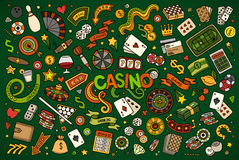Colorful vector hand drawn doodles cartoon set of Casino objects Stock Photography