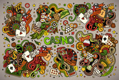 Colorful vector hand drawn doodles cartoon set of Casino objects Royalty Free Stock Photography
