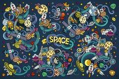 Colorful vector hand drawn doodles cartoon set of Royalty Free Stock Photos