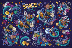 Colorful vector hand drawn doodles cartoon set of Space objects Royalty Free Stock Photos